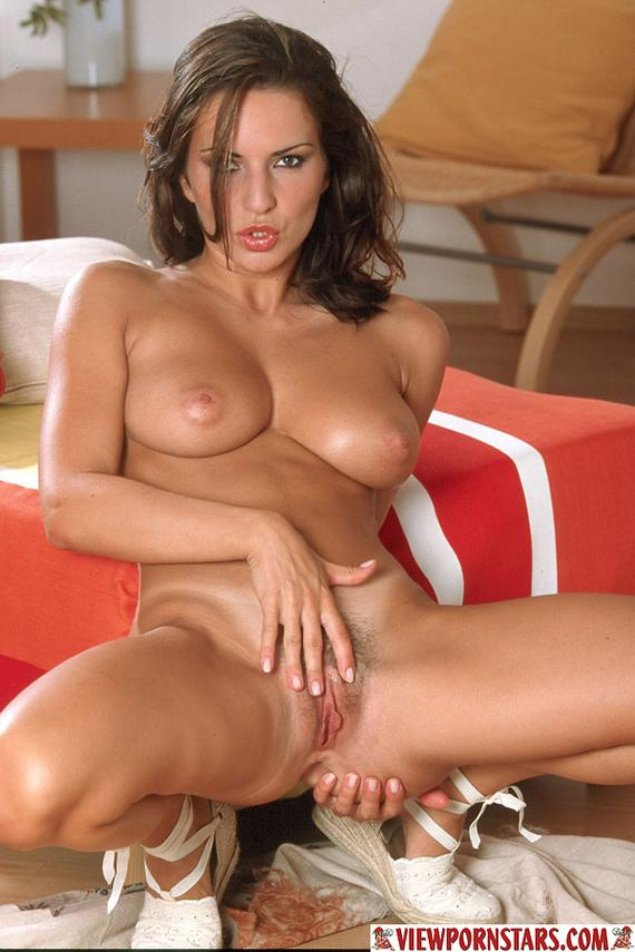 Brunette big natural boobs have